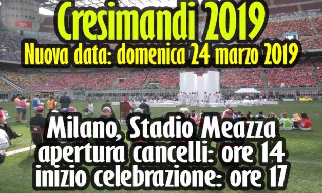L'Incontro dei Cresimandi 2019 il 24 marzo